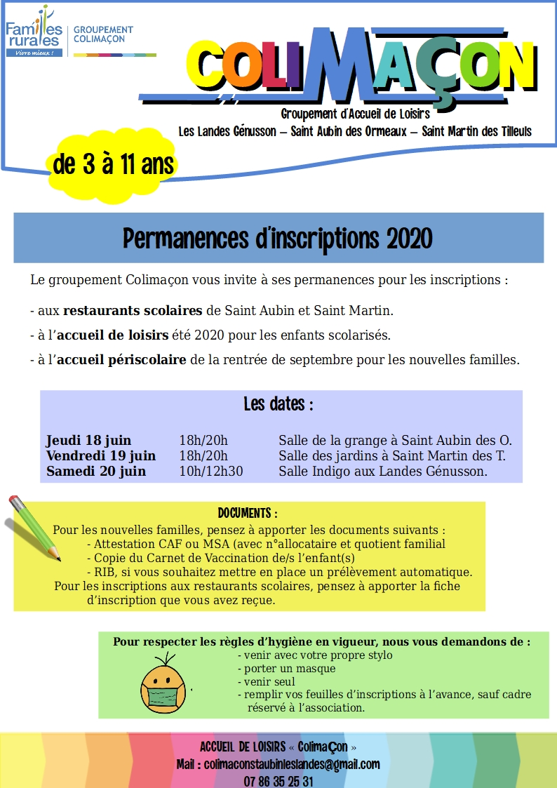 AFFICHE PERMANENCES INSCRIPTIONS 2020